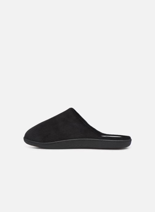 Slippers Isotoner Mule velours semelle ergonomique H Black front view