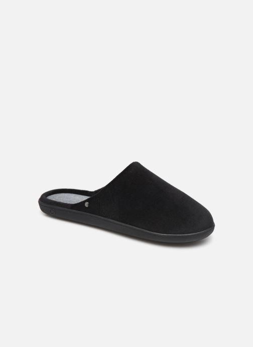 Slippers Isotoner Mule velours semelle ergonomique H Black detailed view/ Pair view