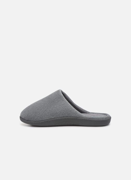 Slippers Isotoner Mule velours semelle ergonomique H Grey front view