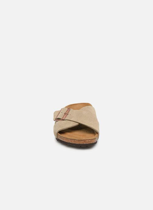 Mules et sabots Birkenstock Siena Cuir Suede W Gris vue portées chaussures