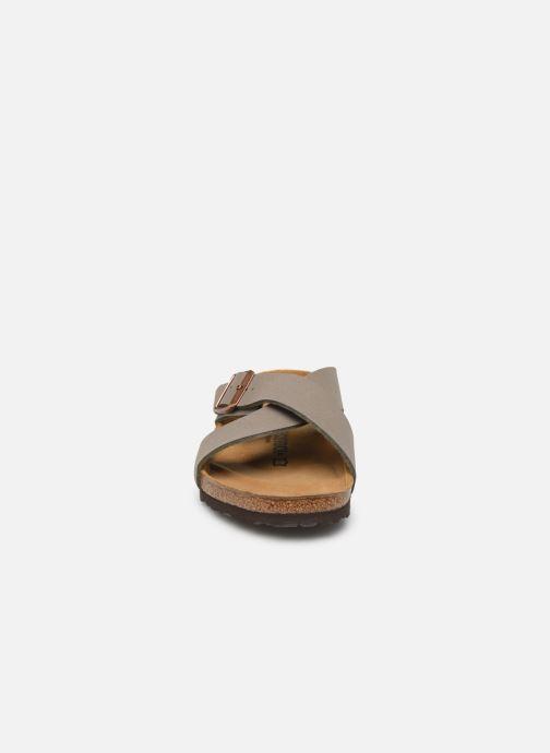 Sandalen Birkenstock Tunis Flor M grau schuhe getragen