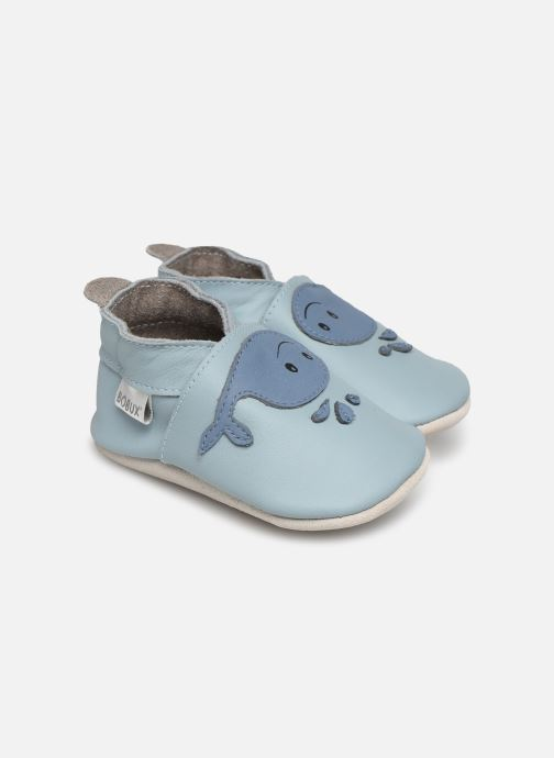 Slippers Bobux Baleine bleu Blue detailed view/ Pair view
