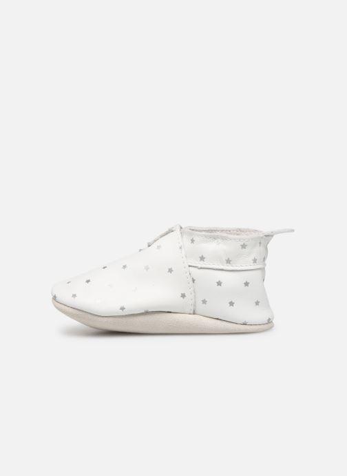 Slippers Bobux Blanc étoiles argentés imprimés White front view