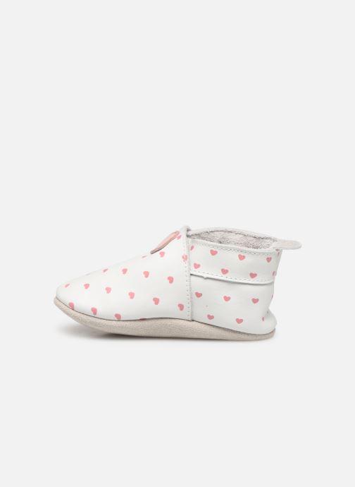 Pantuflas Bobux Blanc rose coeurs imprimés Blanco vista de frente