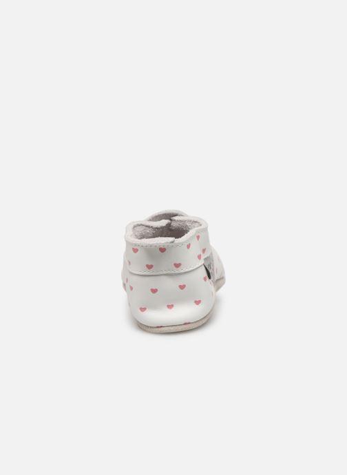 Pantuflas Bobux Blanc rose coeurs imprimés Blanco vista lateral derecha