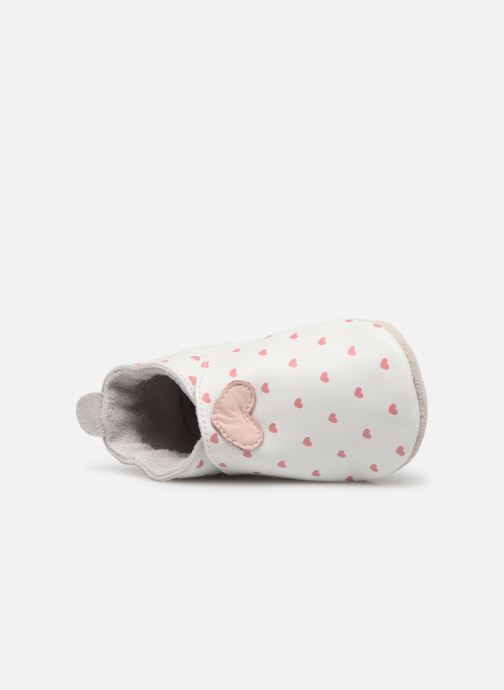 Pantuflas Bobux Blanc rose coeurs imprimés Blanco vista lateral izquierda