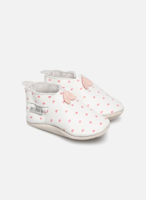 Pantuflas Bobux Blanc rose coeurs imprimés Blanco vista de detalle / par