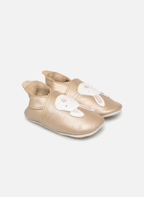 Hjemmesko Bobux Lapin doré Guld og bronze detaljeret billede af skoene