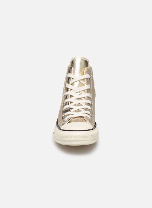 Sneakers Converse Chuck Taylor All Star Shiny Metal Hi Oro e bronzo modello indossato