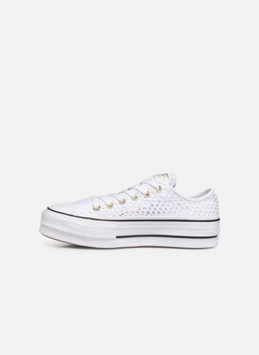 Trainers Converse Chuck Taylor All Star Lift Handmade Crochet Ox White front view