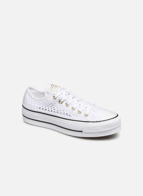 Trainers Converse Chuck Taylor All Star Lift Handmade Crochet Ox White detailed view/ Pair view