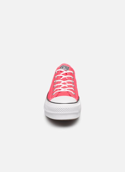 Baskets Converse Chuck Taylor All Star Clean Lift Seasonal Color Extension Ox Rose vue portées chaussures
