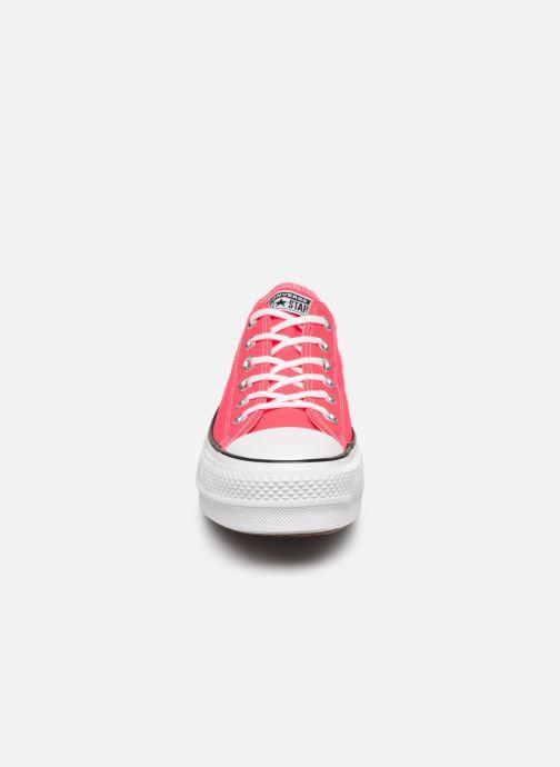 Baskets Converse Chuck Taylor All Star Clean Lift Seasonal Color Extension Ox Rose vue portées chaussures