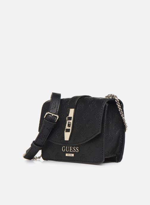 Handtaschen Guess PEONY MINI CROSSBODY FLAP schwarz schuhe getragen
