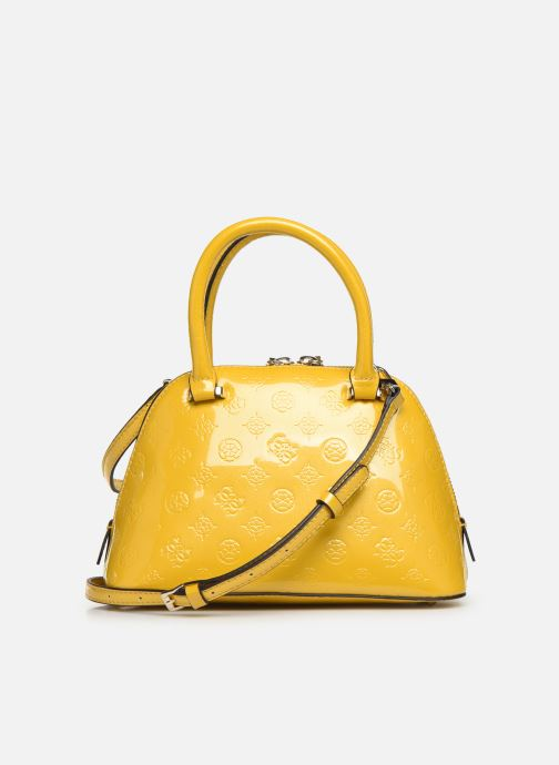Handbags Guess PEONY SHINE SMALL DOME SATCHEL Yellow front view
