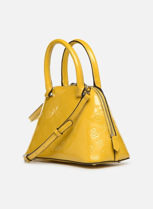 Handbags Guess PEONY SHINE SMALL DOME SATCHEL Yellow view from the right