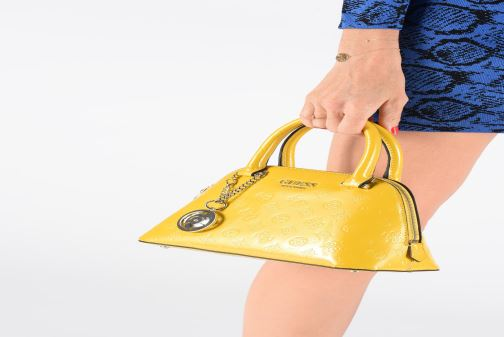 Handbags Guess PEONY SHINE SMALL DOME SATCHEL Yellow view from underneath / model view