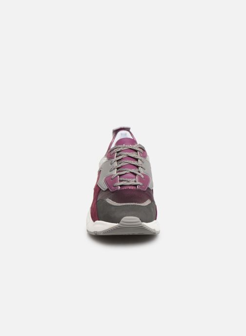 Baskets Timberland Delphiville Leather Sneaker Violet vue portées chaussures