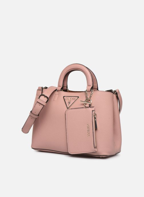 Bolsos de mano Guess ARETHA GIRLFRIEND SATCHEL Rosa vista del modelo