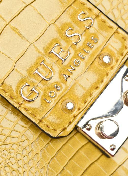 Bolsos de mano Guess CLEO GIRLFRIEND SATCHEL Amarillo vista lateral izquierda