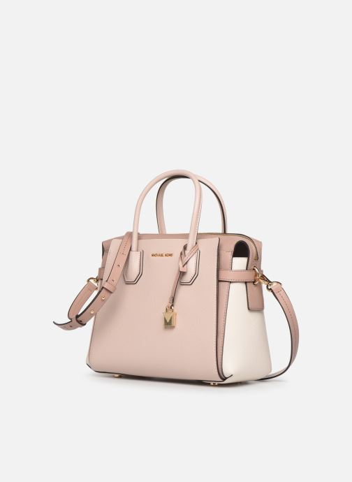 Borse Michael Michael Kors MERCER BELETED MD SATCHEL Rosa modello indossato