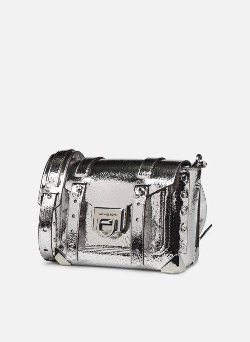 Borse Michael Michael Kors MANHATAN SM MESSENGER Argento modello indossato