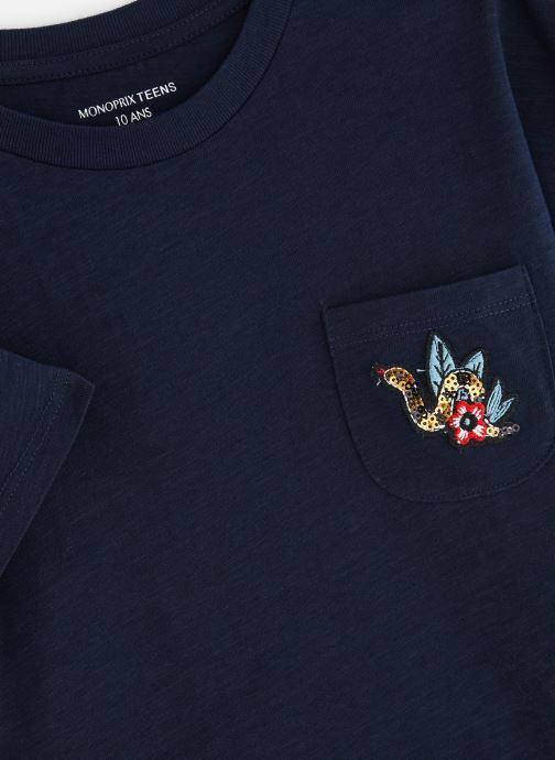 Vêtements Monoprix Kids T-shirt manches courtes Badge Bleu vue portées chaussures