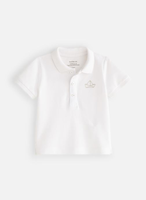 Vêtements Bout'Chou Polo Piqué manches courtes bio Blanc vue détail/paire