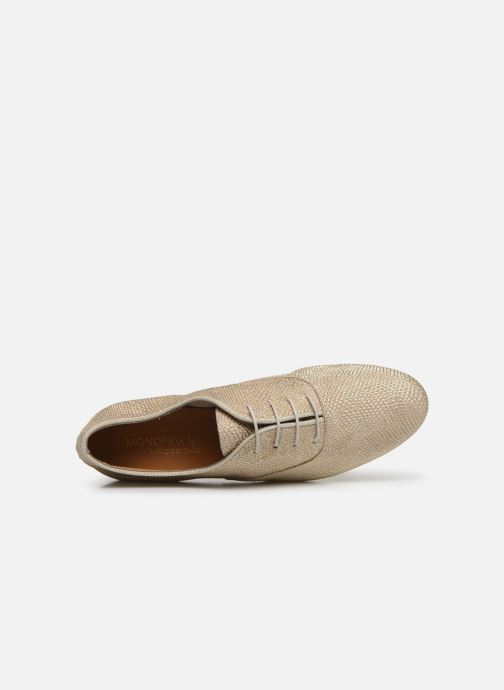 Lace-up shoes Monoprix Femme Derby Python irisée Bronze and Gold view from the left