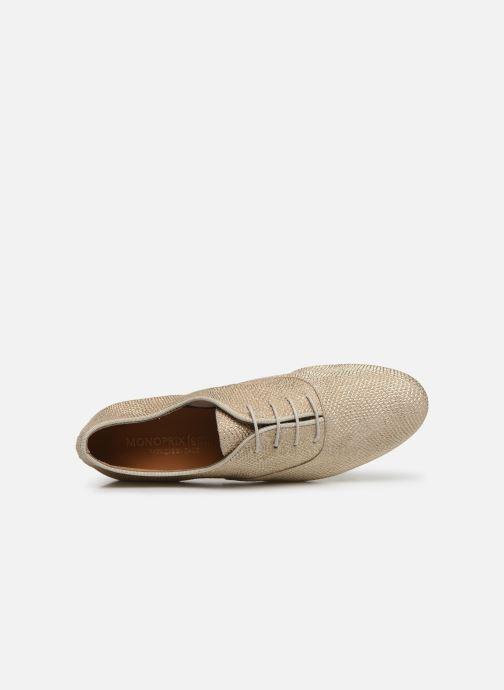 Zapatos con cordones Monoprix Femme Derby Python irisée Oro y bronce vista lateral izquierda