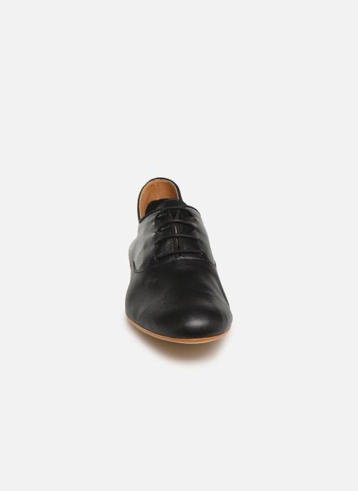 Lace-up shoes Monoprix Femme Derby uni cuir lisse Black model view