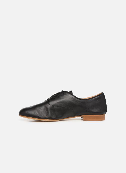 Lace-up shoes Monoprix Femme Derby uni cuir lisse Black front view