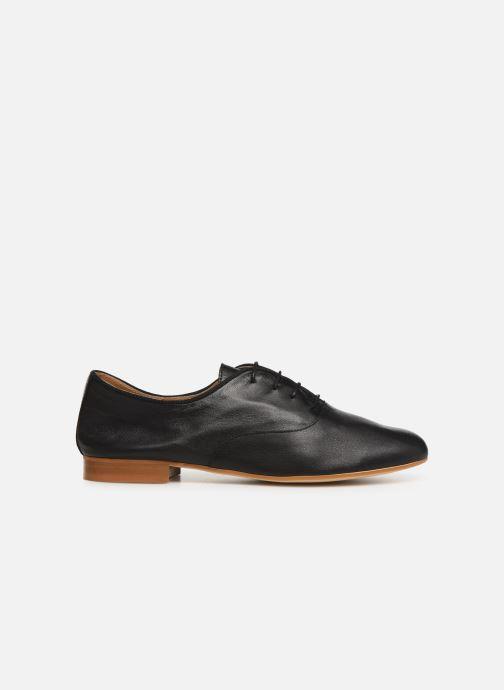 Lace-up shoes Monoprix Femme Derby uni cuir lisse Black back view