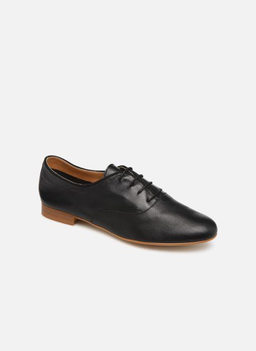 Lace-up shoes Monoprix Femme Derby uni cuir lisse Black detailed view/ Pair view