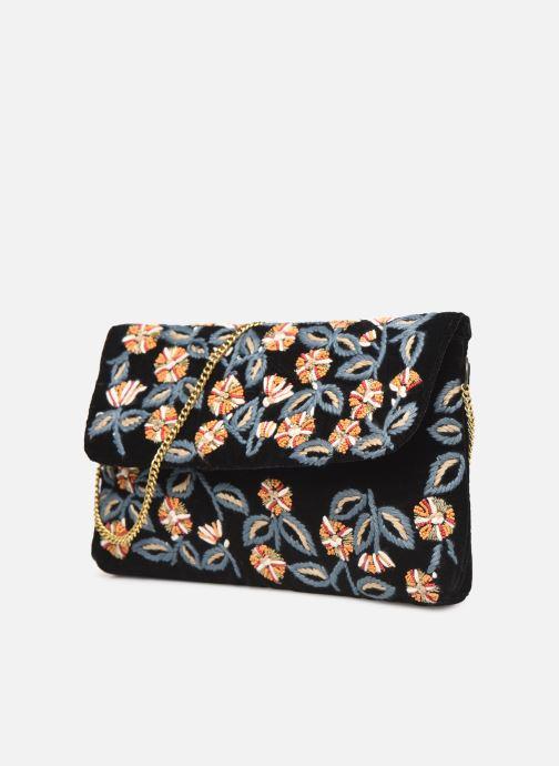 Handbags Monoprix Femme Sac ville brodé fleurs Black model view