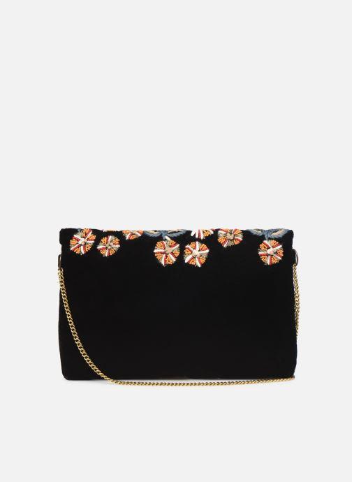 Handbags Monoprix Femme Sac ville brodé fleurs Black front view