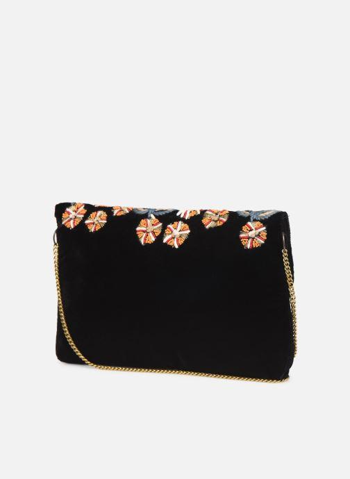 Handbags Monoprix Femme Sac ville brodé fleurs Black view from the right
