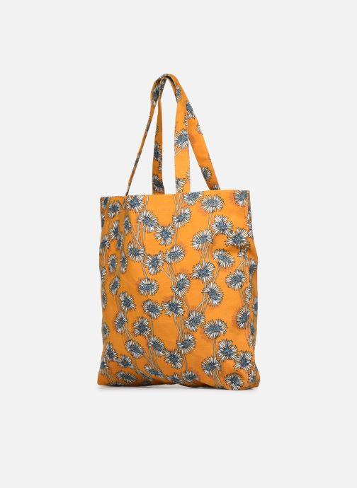 Sacs à main Monoprix Femme Tote bag coton fleurs Jaune vue portées chaussures