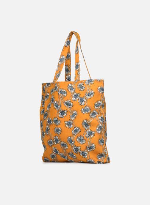 Sacs à main Monoprix Femme Tote bag coton fleurs Jaune vue droite