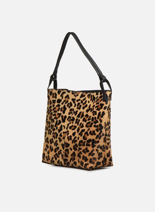 Sacs à main Monoprix Femme Cabas Leopard Aris Marron vue portées chaussures