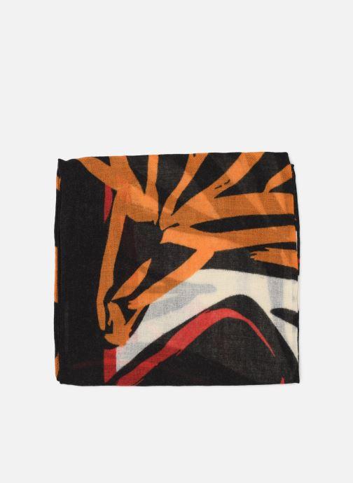 Sciarpa y foulard Monoprix Femme Foulard carré laine fleurs Multicolore modello indossato
