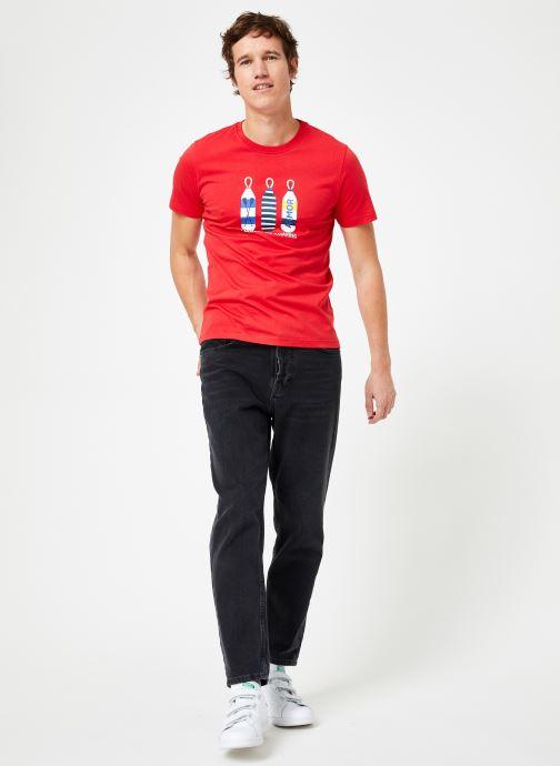 Vêtements Armor Lux Tee-Shirt Sérigraphié Blanc vue bas / vue portée sac