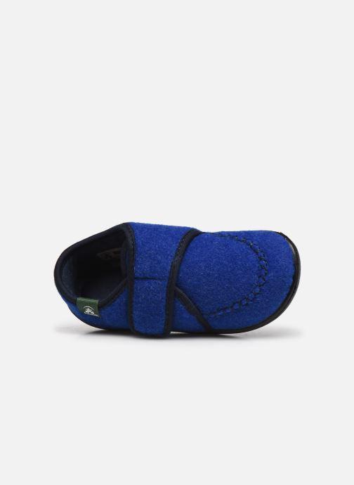 Pantuflas Kamik Cozylodge Azul vista lateral izquierda