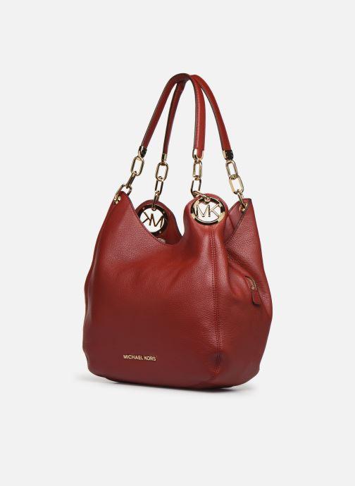 Bolsos de mano Michael Michael Kors LILLIE LG CHAIN SHOULDER TOTE Rojo vista del modelo