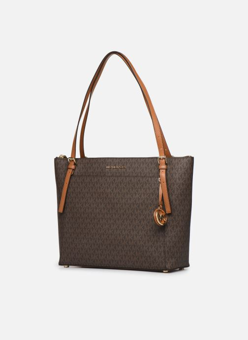 Handtaschen Michael Michael Kors VOYAGER LG EW TZ TOTE braun schuhe getragen