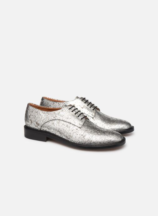 Lace-up shoes Clergerie Rosie Silver 3/4 view