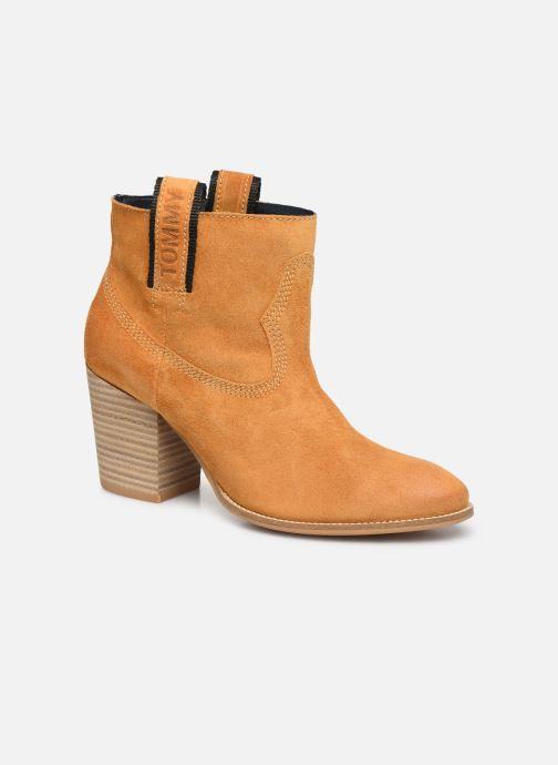 Bottines et boots Tommy Hilfiger COWBOY SUEDE MID HEEL BOOT Jaune vue détail/paire