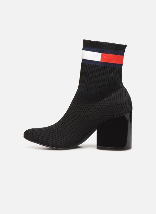 Botines  Tommy Hilfiger FLAG SOCK MID HEEL BOOT Negro vista de frente