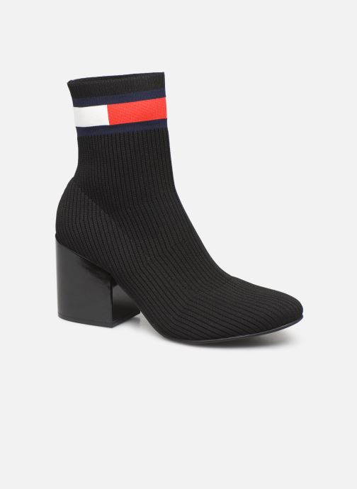 Boots en enkellaarsjes Tommy Hilfiger FLAG SOCK MID HEEL BOOT Zwart detail
