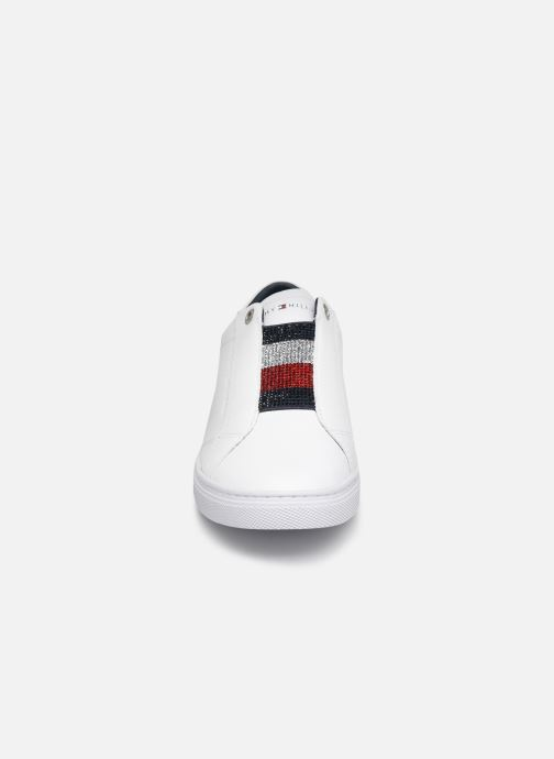 Baskets Tommy Hilfiger CRYSTAL LEATHER SLIP ON SNEAKER Blanc vue portées chaussures